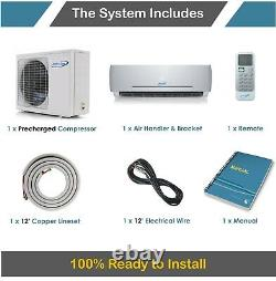 Air Con Mini Split Heat Pump AC Ductless Air Conditioning 9000 BTU 16 Seer
