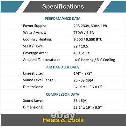 Air Con Mini Split Heat Pump AC Ductless Air Conditioning 9000 BTU 22 Seer