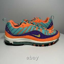 Nike Air Max 98 QS Cone Orange Size 10.5 Blue Good Condition 924462-800 Sneaker